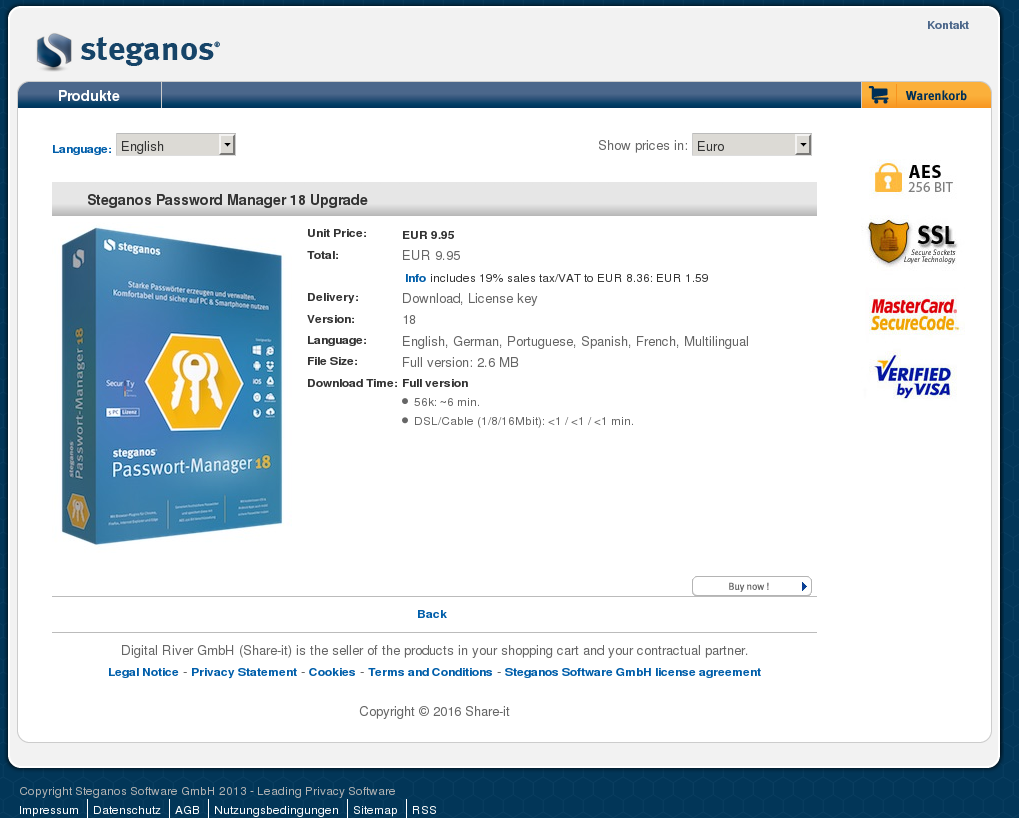 Steganos Password Manager Upgrade Features