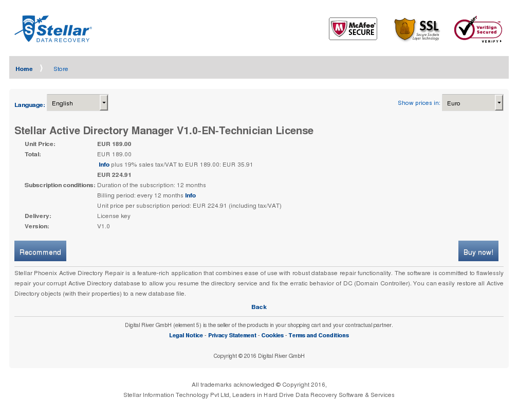 Stellar Active Directory Manager Technician License Key Information