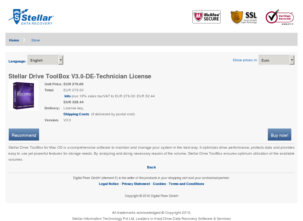 Stellar Drive Toolbox Technician License Features