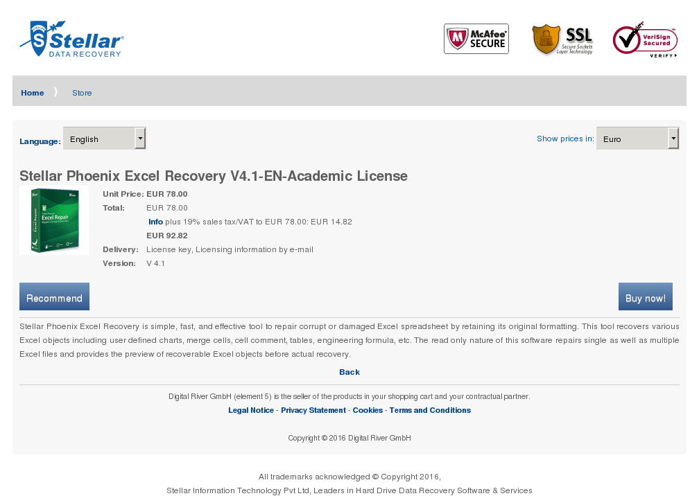Stellar Phoenix Excel Recovery Academic License Review