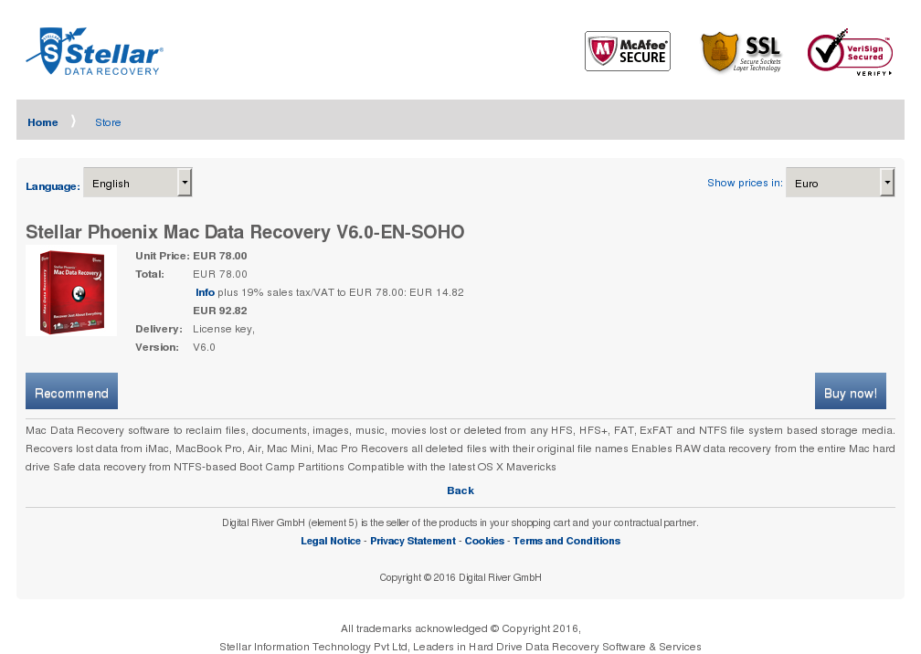 Stellar Phoenix Mac Data Recovery Soho Key Information
