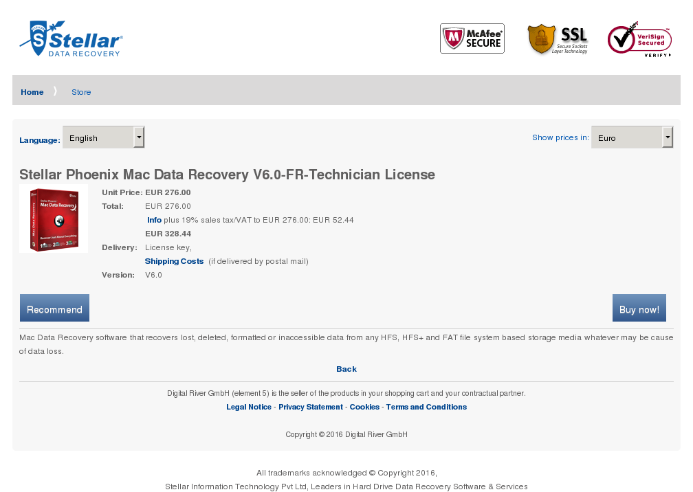 Stellar Phoenix Mac Data Recovery Technician License Key Information