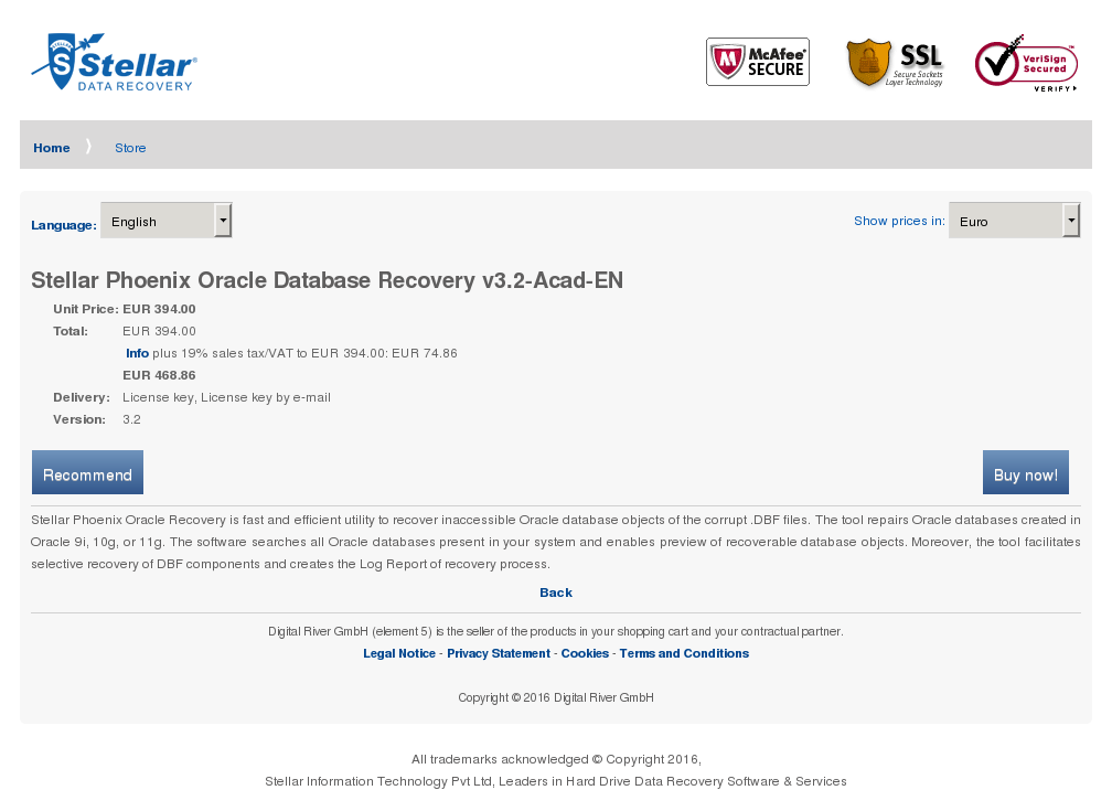 Stellar Phoenix Oracle Database Recovery Acad Features
