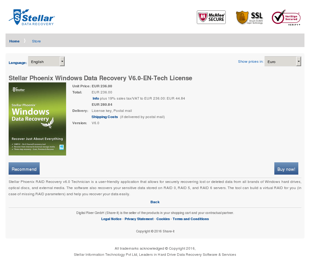 Stellar Phoenix Windows Data Recovery Tech License Key Information