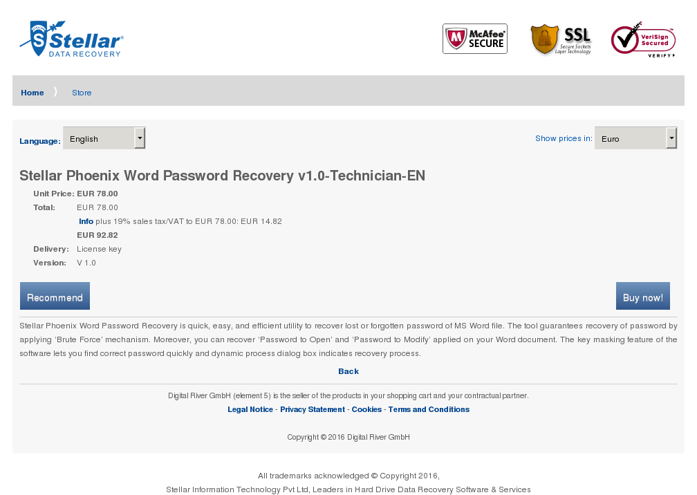 Stellar Phoenix Word Password Recovery Technician Features