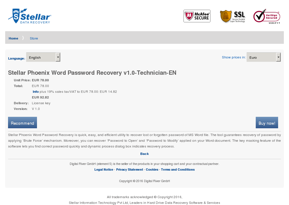 Stellar Phoenix Word Password Recovery Technician Key Information