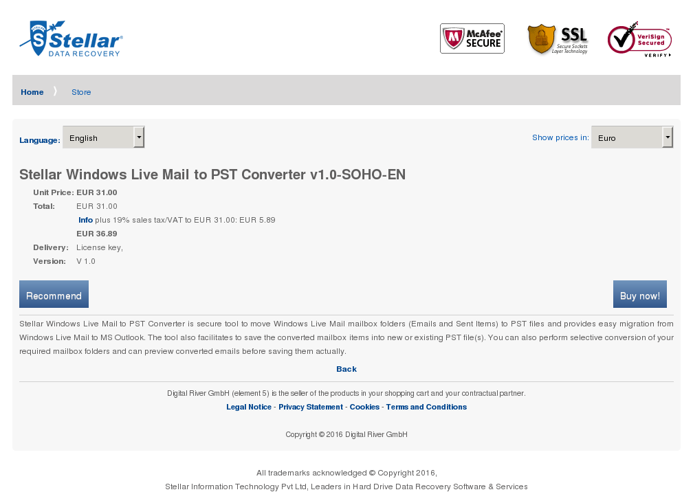 Stellar Windows Live Mail Pst Converter Soho Download