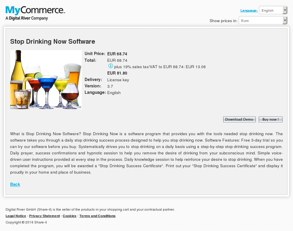 Stop Drinking Now Software Features