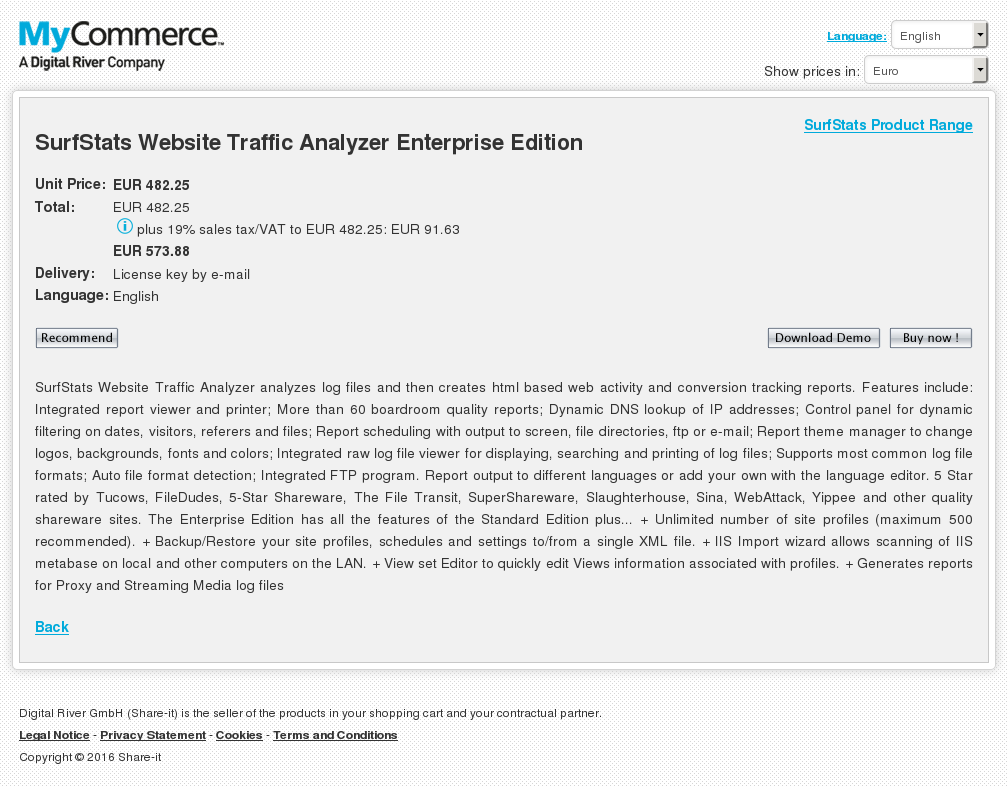 Surfstats Website Traffic Analyzer Enterprise Edition Alternative