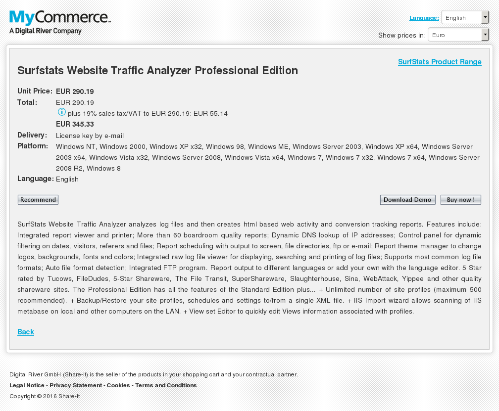 Surfstats Website Traffic Analyzer Professional Edition