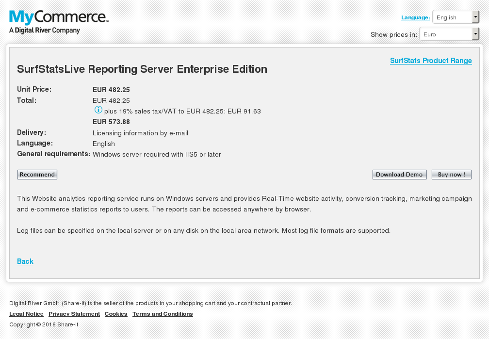 Surfstatslive Reporting Server Enterprise Edition Key Information