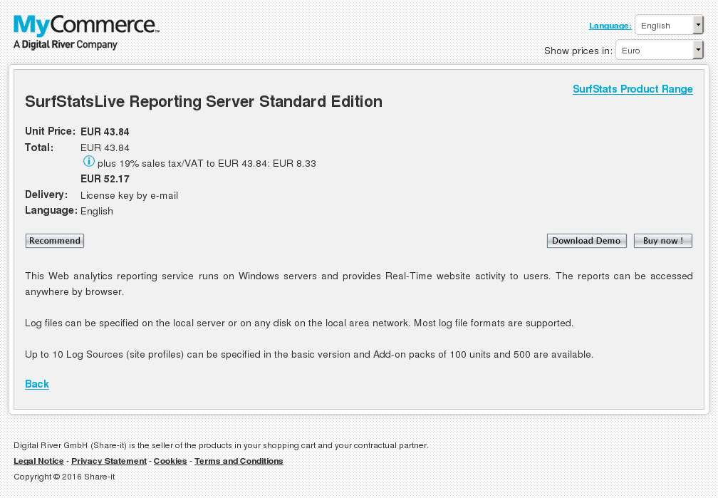 Surfstatslive Reporting Server Standard Edition Key Information
