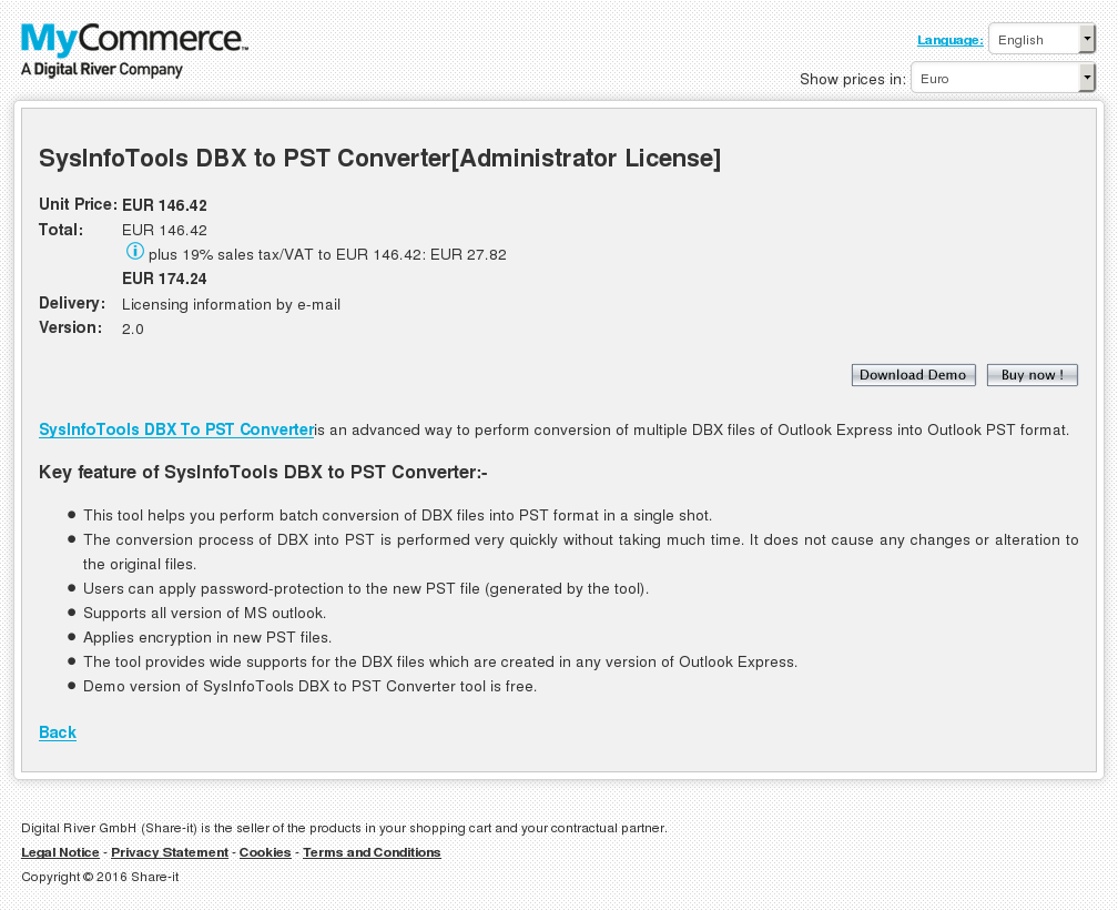 Sysinfotools Dbx Pst Converter Administrator License Features