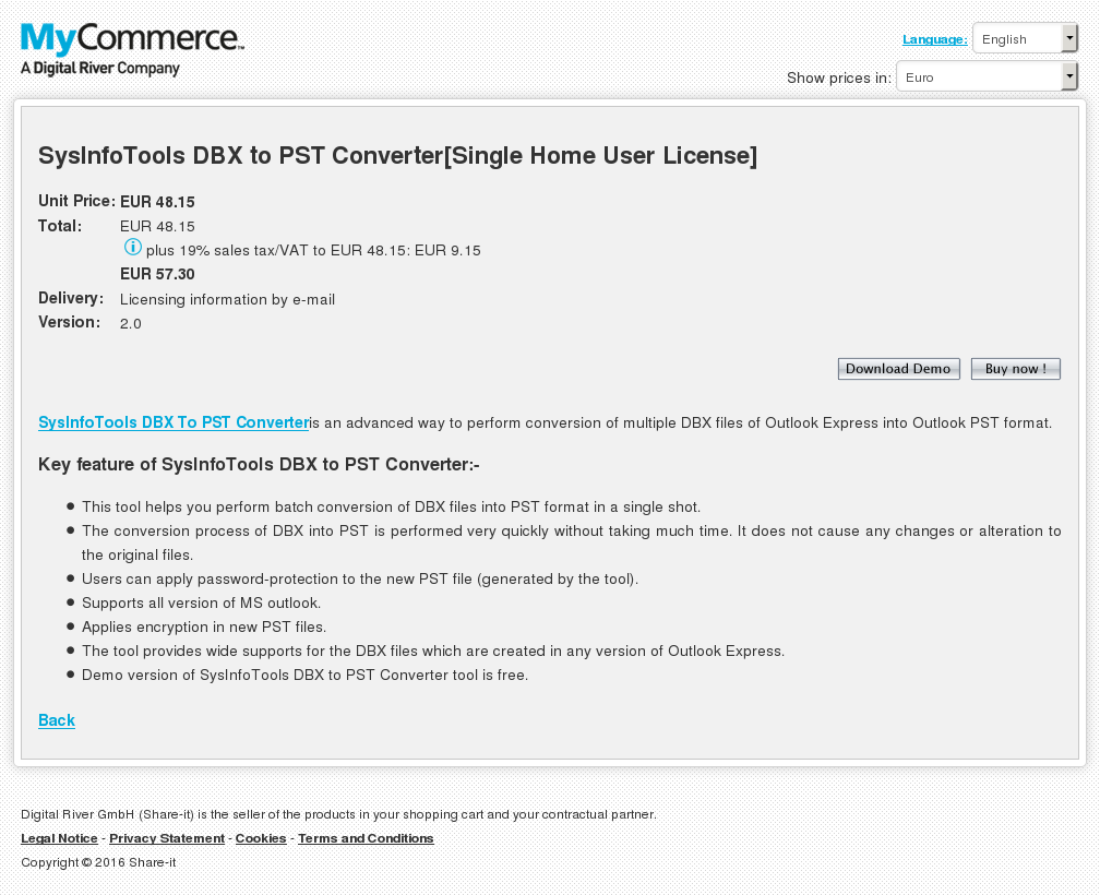 Sysinfotools Dbx Pst Converter Single Home User License Review
