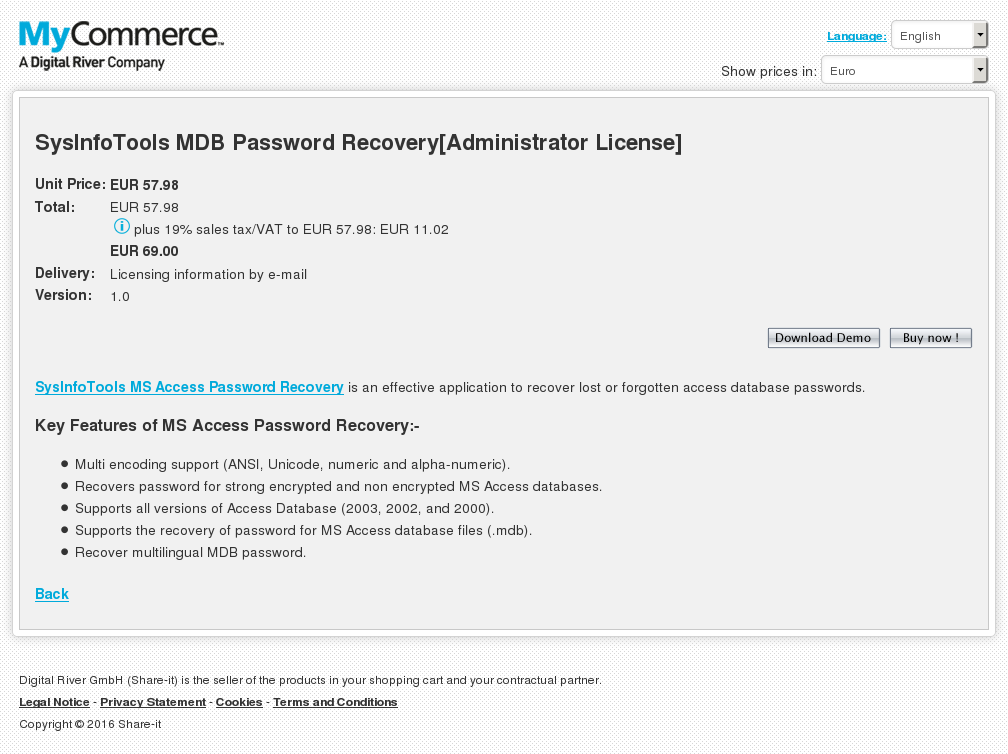 Sysinfotools Mdb Password Recovery Administrator License Key Information