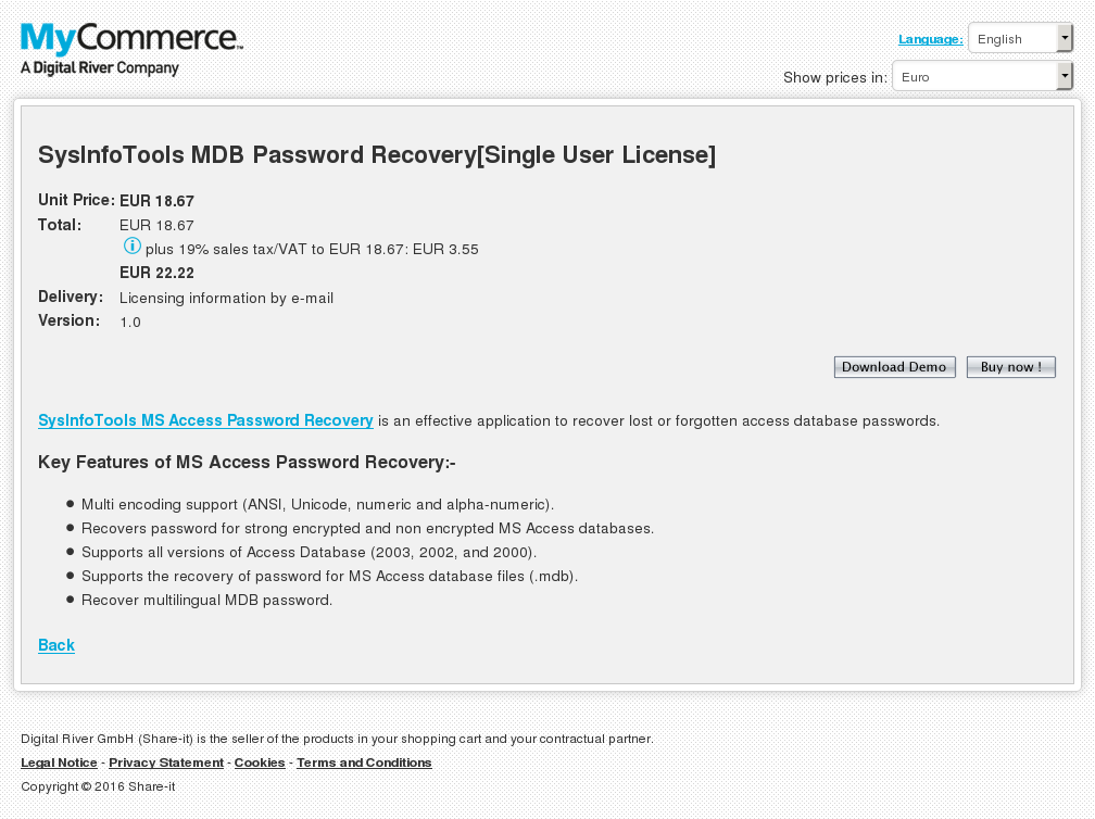 Sysinfotools Mdb Password Recovery Single User License Key Information
