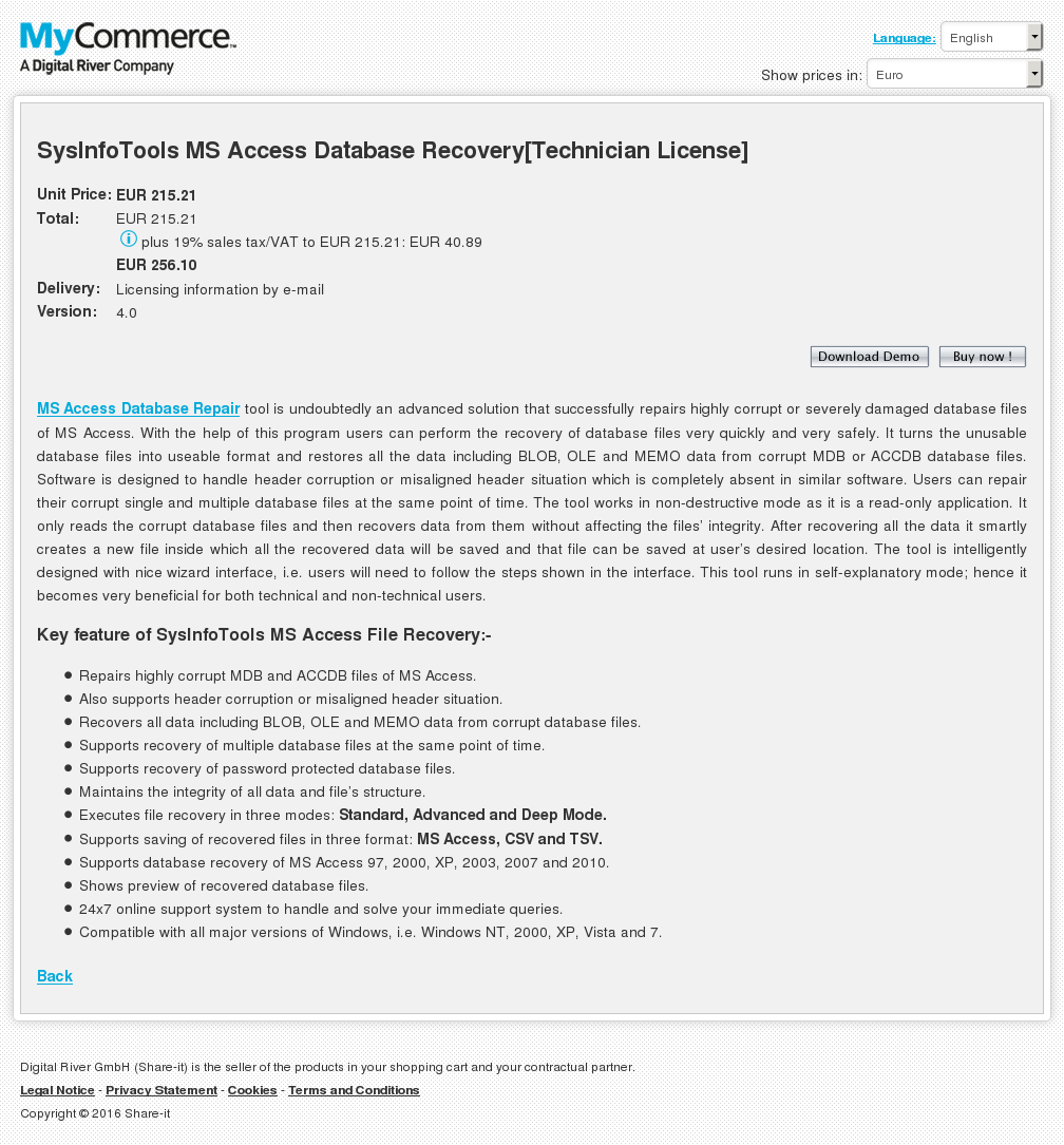 Sysinfotools Access Database Recovery Technician License Key Information