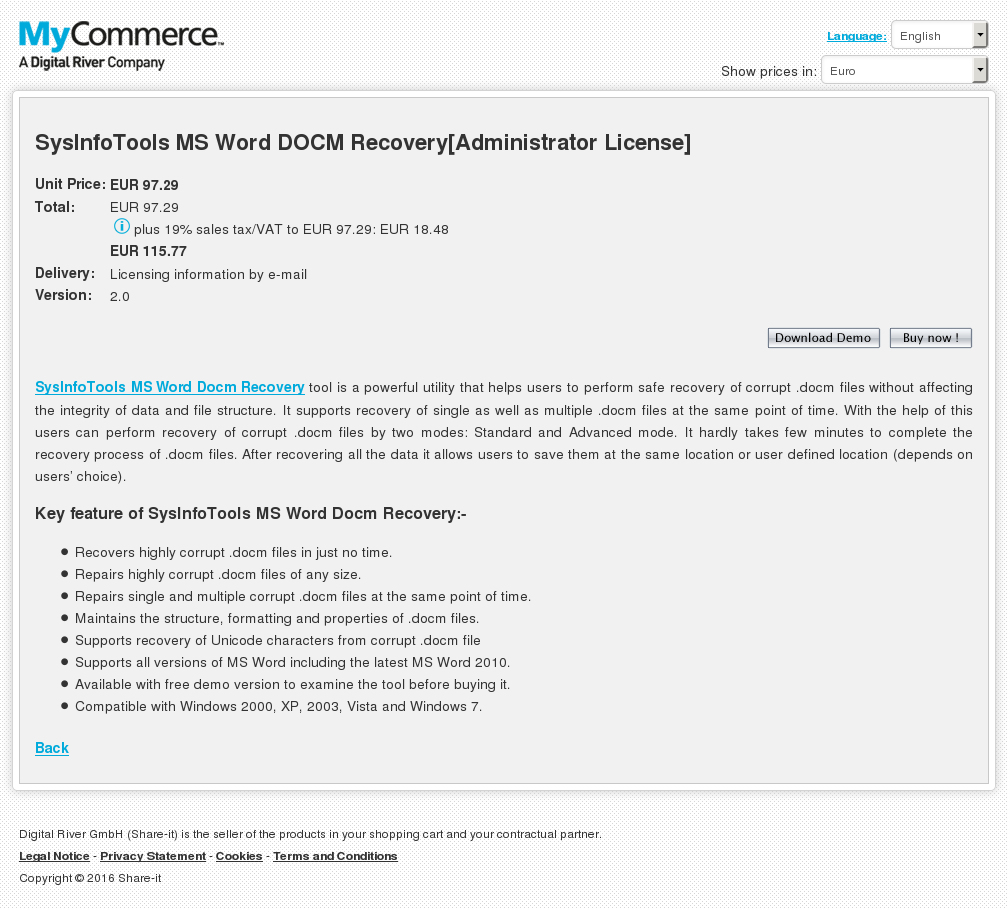 Sysinfotools Word Docm Recovery Administrator License Features