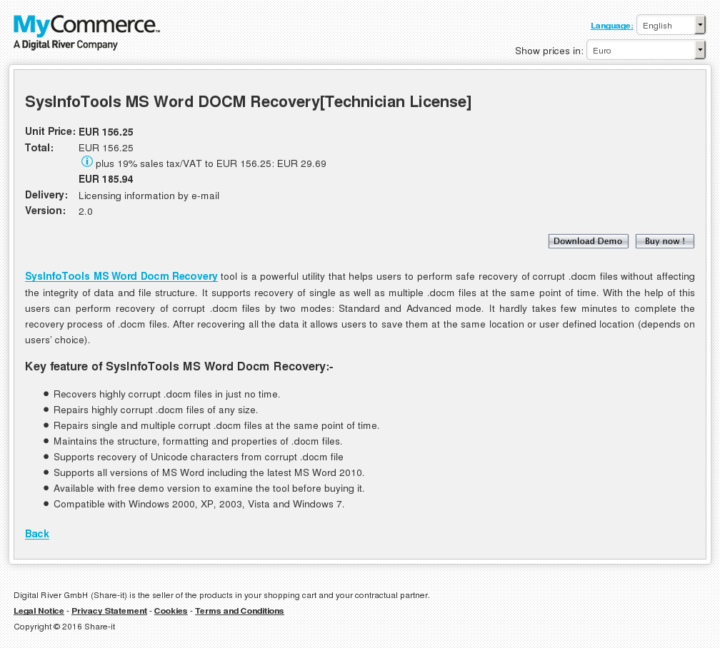 Sysinfotools Word Docm Recovery Technician License Features