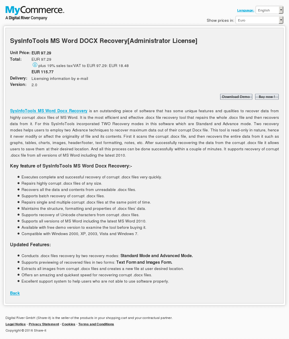 Sysinfotools Word Docx Recovery Administrator License Free