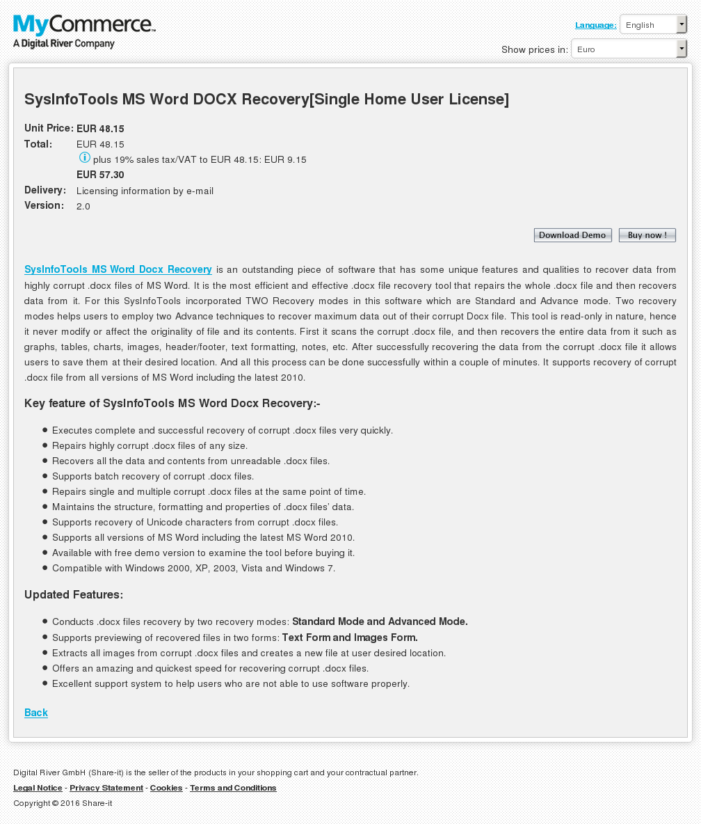 Sysinfotools Word Docx Recovery Single Home User License Features