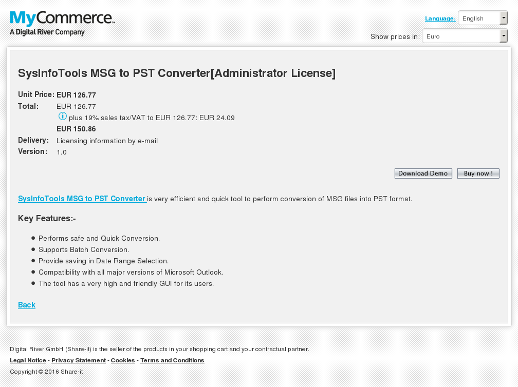 Sysinfotools Msg Pst Converter Administrator License Review