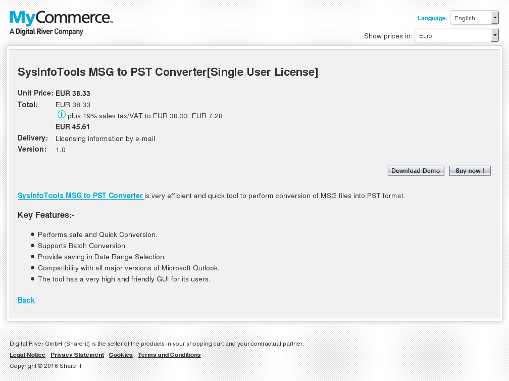 Sysinfotools Msg Pst Converter Single User License Alternative