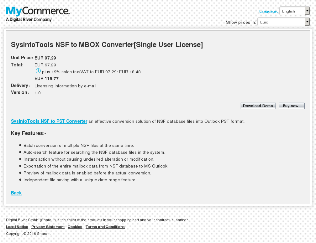Sysinfotools Nsf Mbox Converter Single User License Download