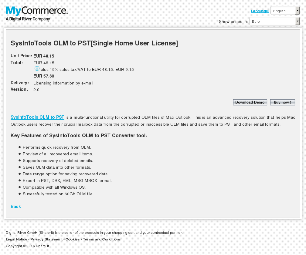Sysinfotools Olm Pst Single Home User License Download