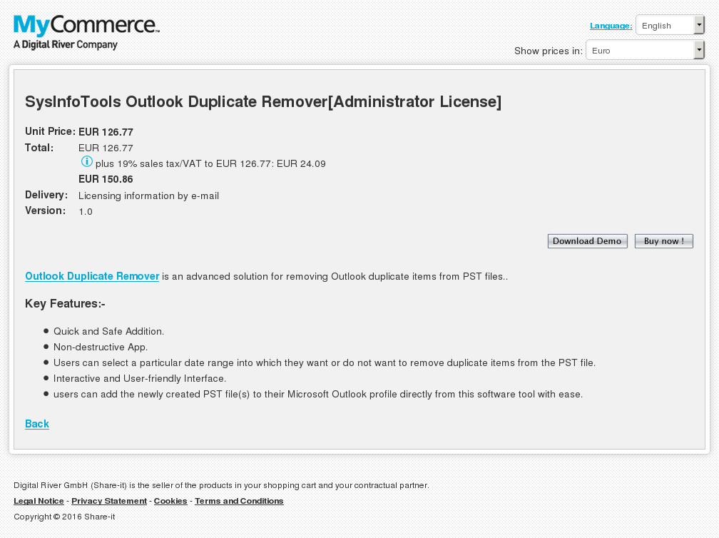 Sysinfotools Outlook Duplicate Remover Administrator License Review