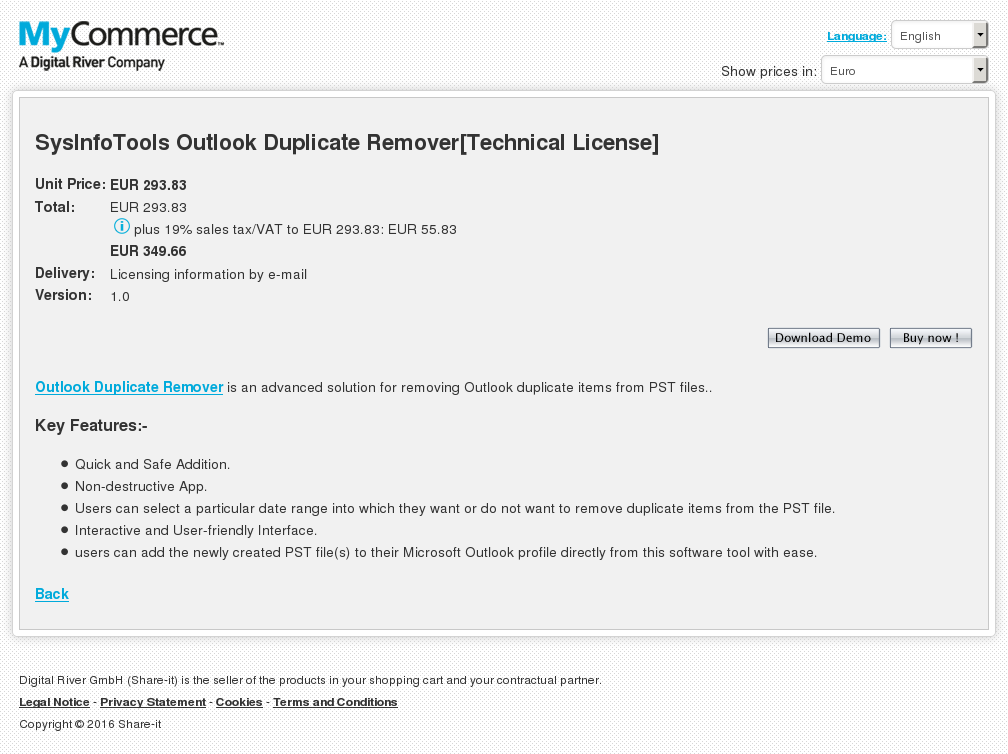 Sysinfotools Outlook Duplicate Remover Technical License Key Information