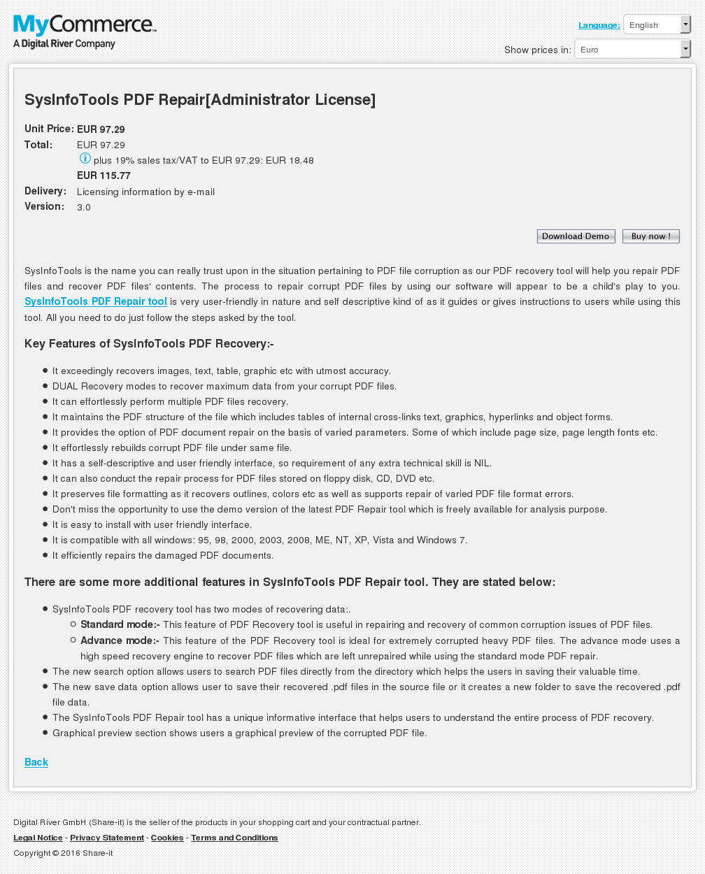 Sysinfotools Pdf Repair Administrator License Features