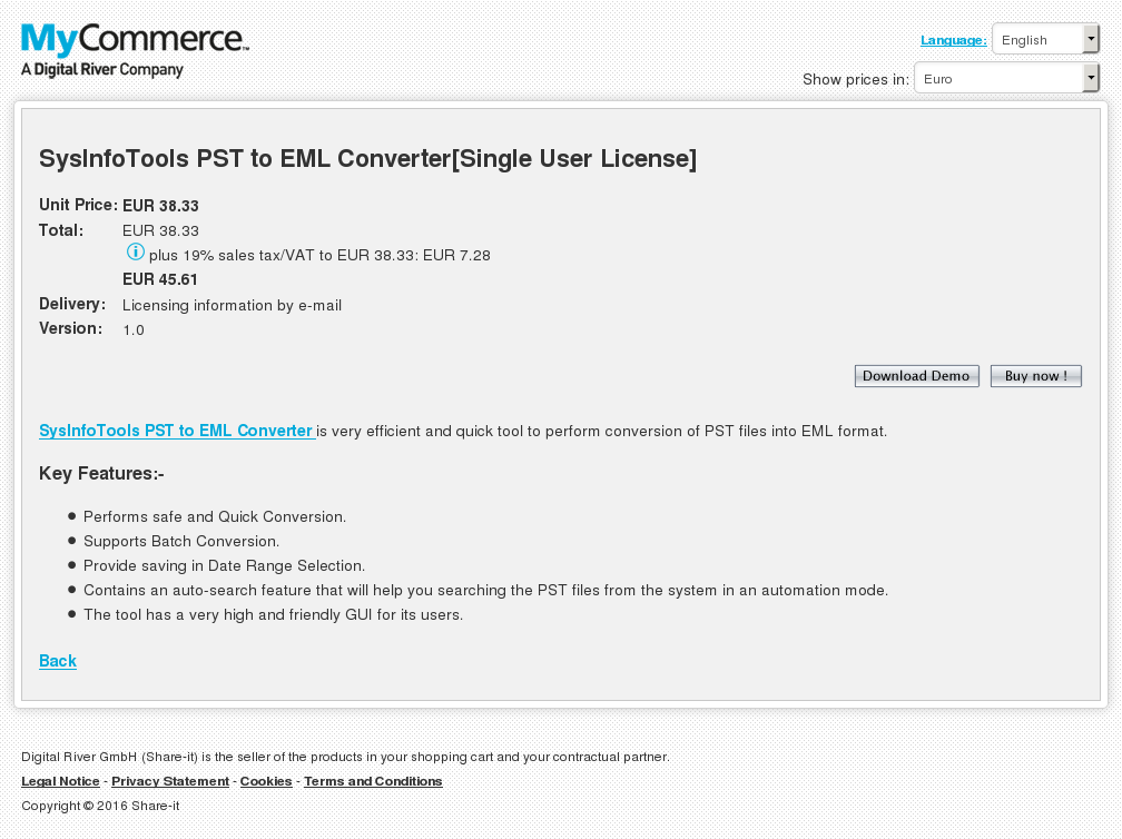 Sysinfotools Pst Eml Converter Single User License Free