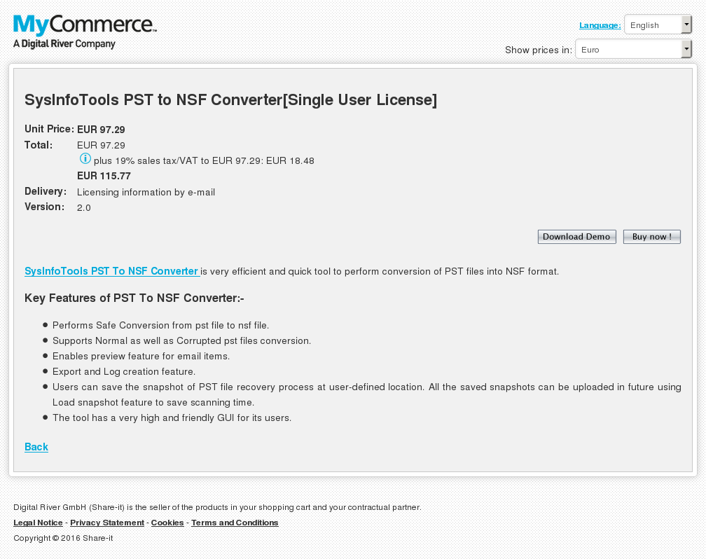 Sysinfotools Pst Nsf Converter Single User License Features