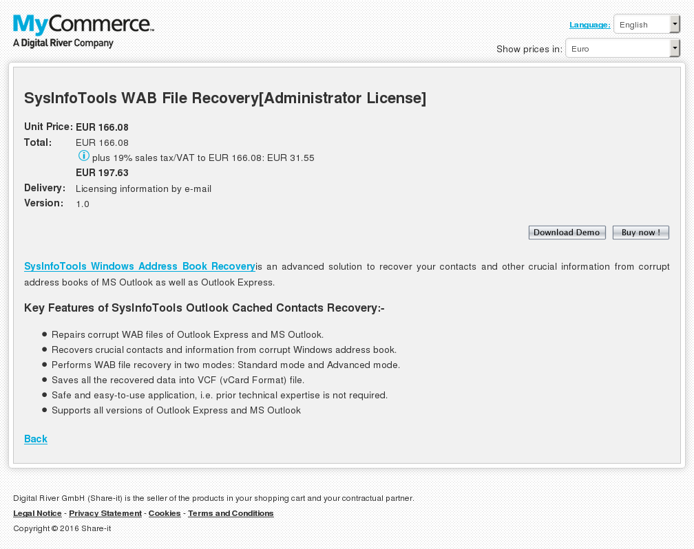 Sysinfotools Wab File Recovery Administrator License Features