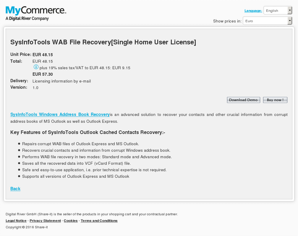 Sysinfotools Wab File Recovery Single Home User License Key Information
