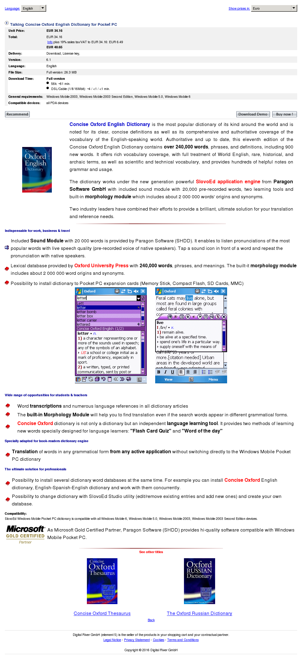 Talking Concise Oxford English Dictionary Pocket Free - Components