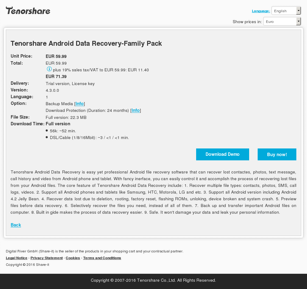 Tenorshare Android Data Recovery Family Pack Howto