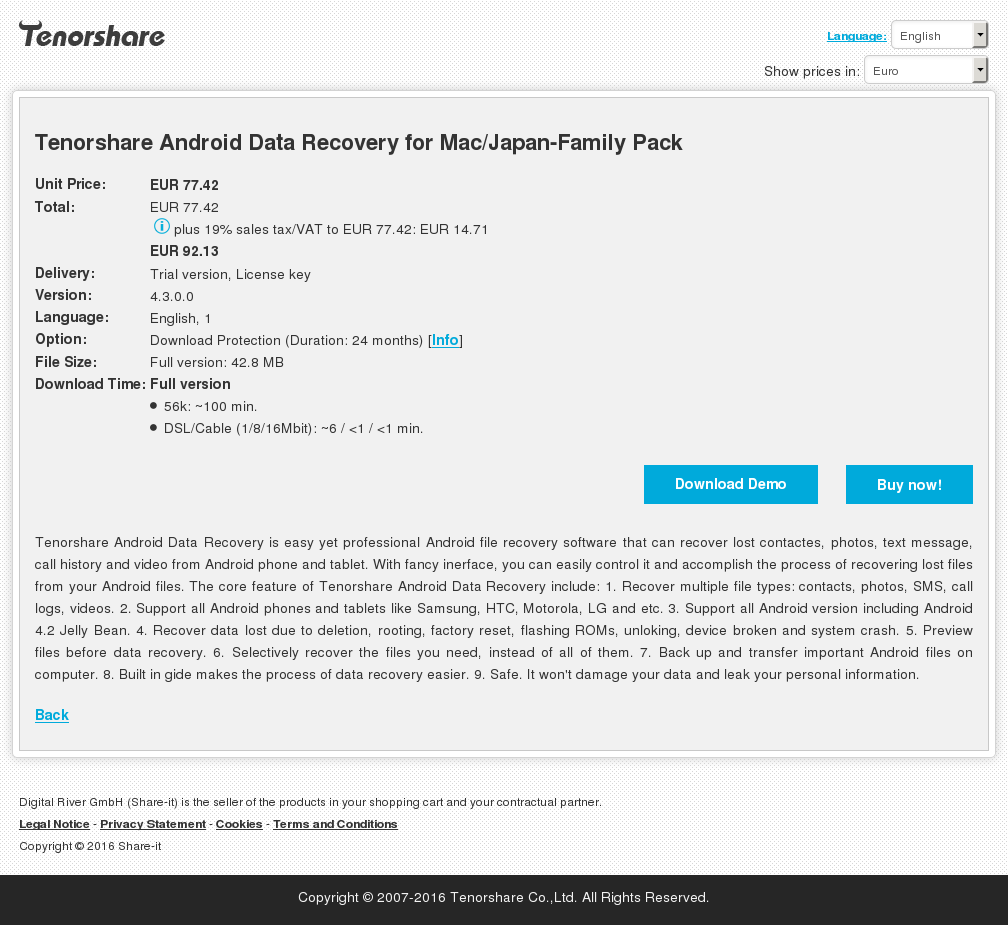 Tenorshare Android Data Recovery Mac Japan Family Pack Key Information