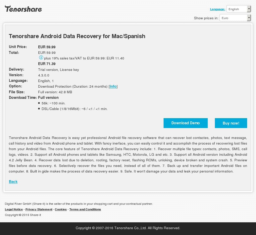Tenorshare Android Data Recovery Mac Spanish Key Information