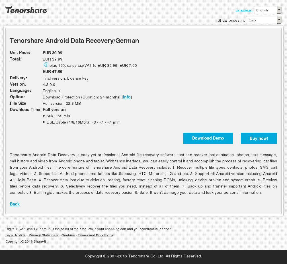 Tenorshare Android Data Recovery German Review