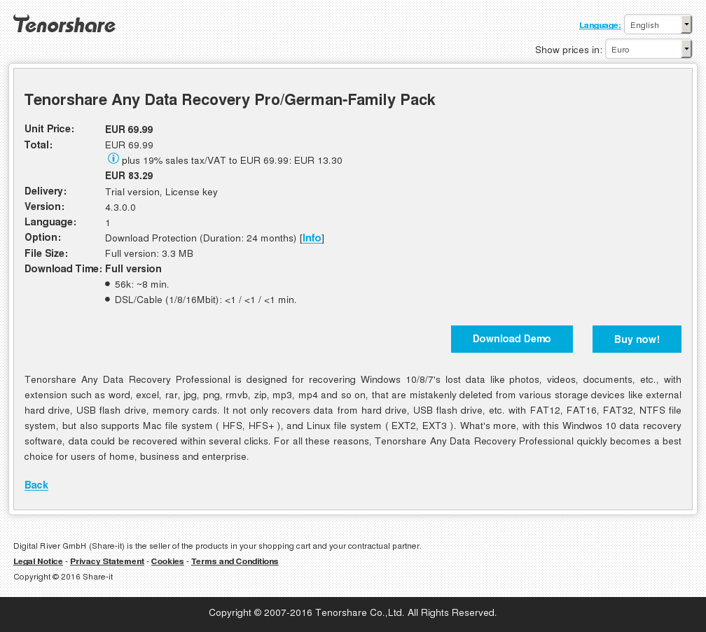 Tenorshare Any Data Recovery Pro German Family Pack Features