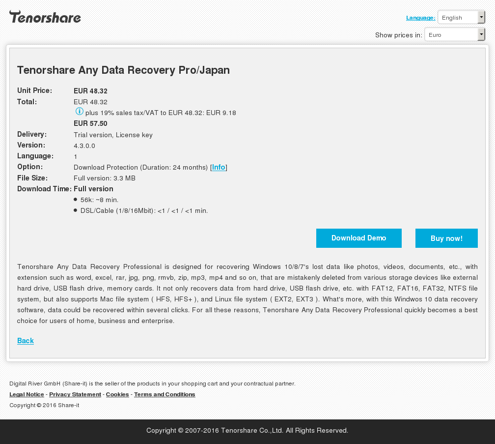 Tenorshare Any Data Recovery Pro Japan Alternative