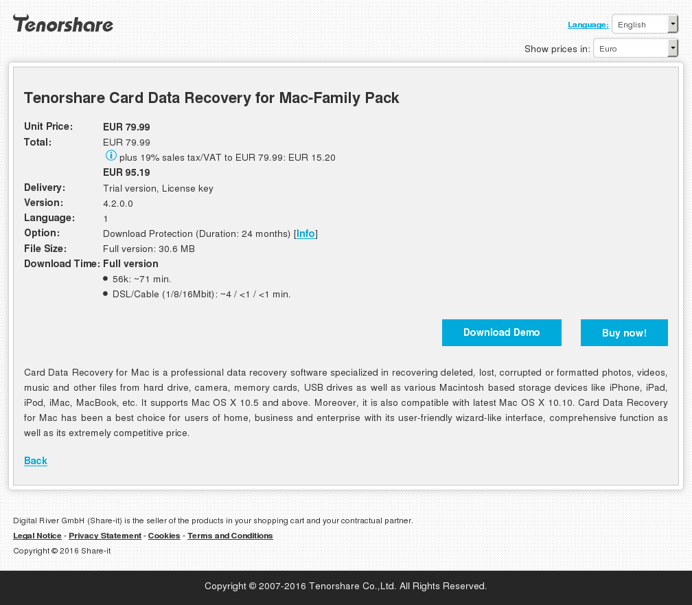 Tenorshare Card Data Recovery Mac Family Pack Free