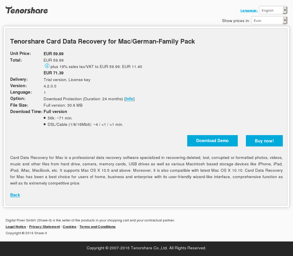 Tenorshare Card Data Recovery Mac German Family Pack Free