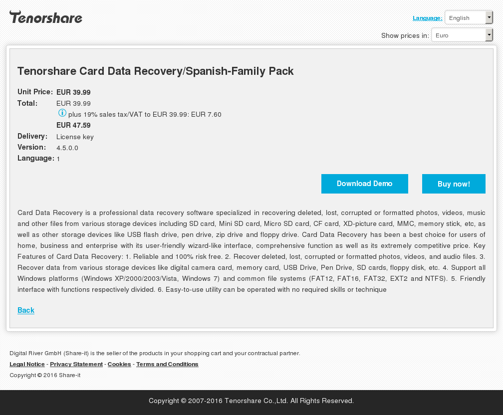 Tenorshare Card Data Recovery Spanish Family Pack Free