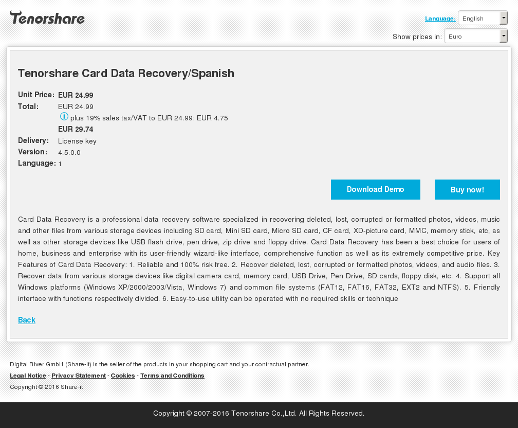 Tenorshare Card Data Recovery Spanish Review