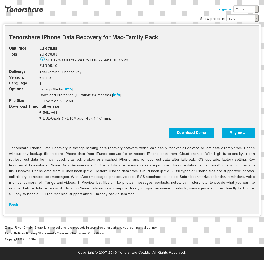 Tenorshare Iphone Data Recovery Mac Family Pack Features