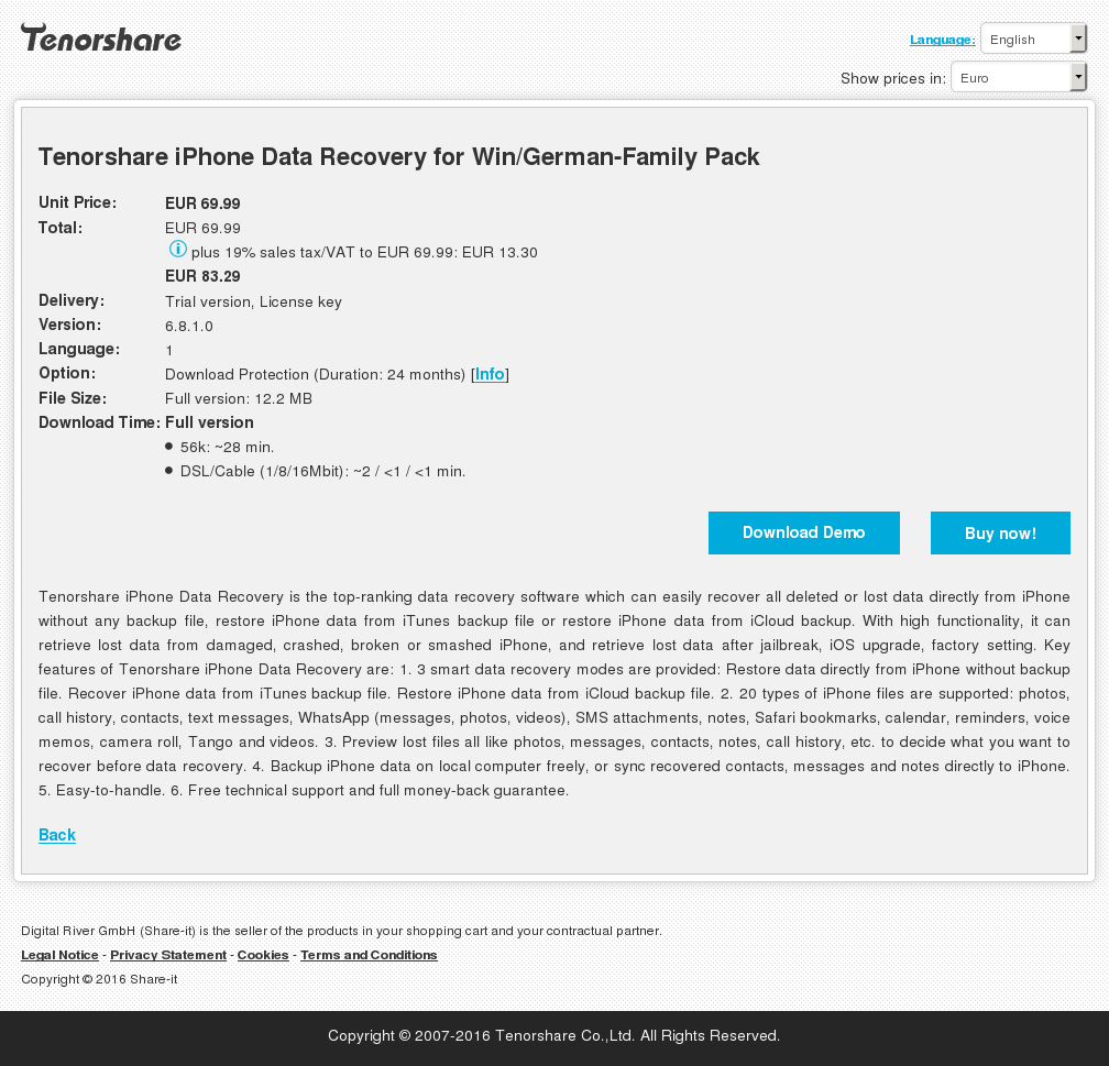 Tenorshare Iphone Data Recovery Win German Family Pack Features