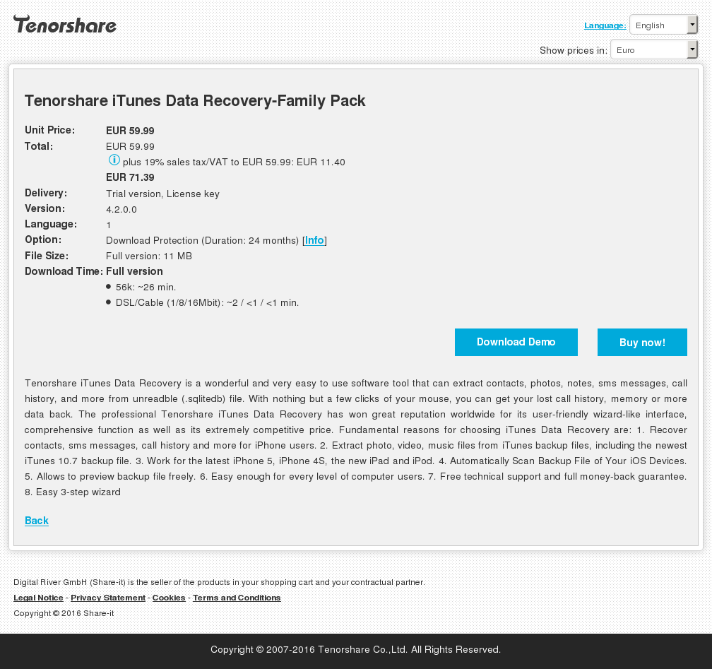 Tenorshare Itunes Data Recovery Family Pack Key Information